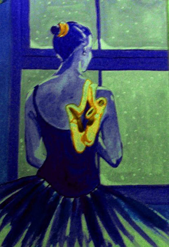 Ballet Dancers Poster featuring the painting Ballerine En Hiver by Rusty Woodward Gladdish