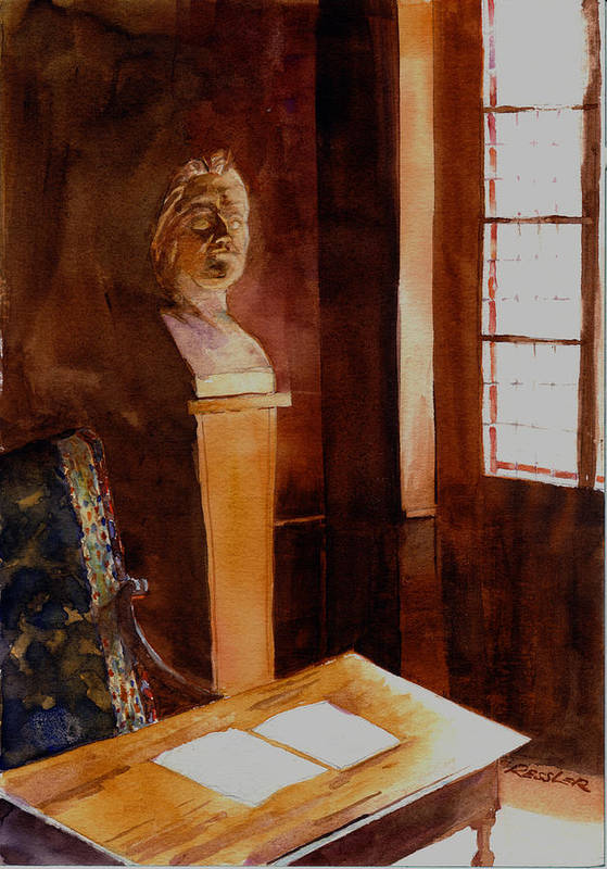 France Poster featuring the painting Balzac Napped Here. by John Ressler