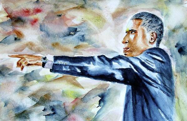 Obama Poster featuring the painting Barack Obama Commander In Chief by Brian Degnon