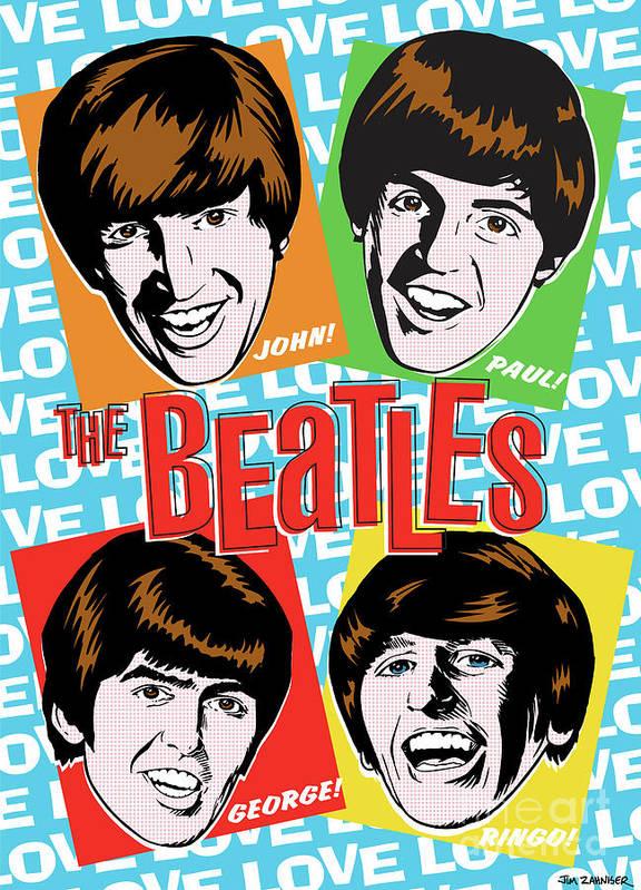 Beatles Poster featuring the digital art Beatles Pop Art by Jim Zahniser