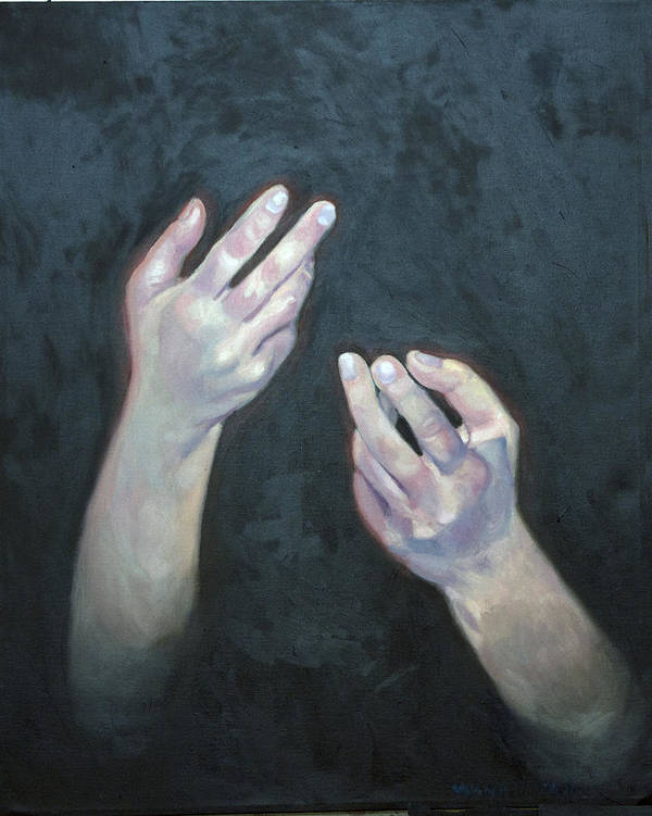 Figure Poster featuring the painting Beckoning Hands by Douglas Manry