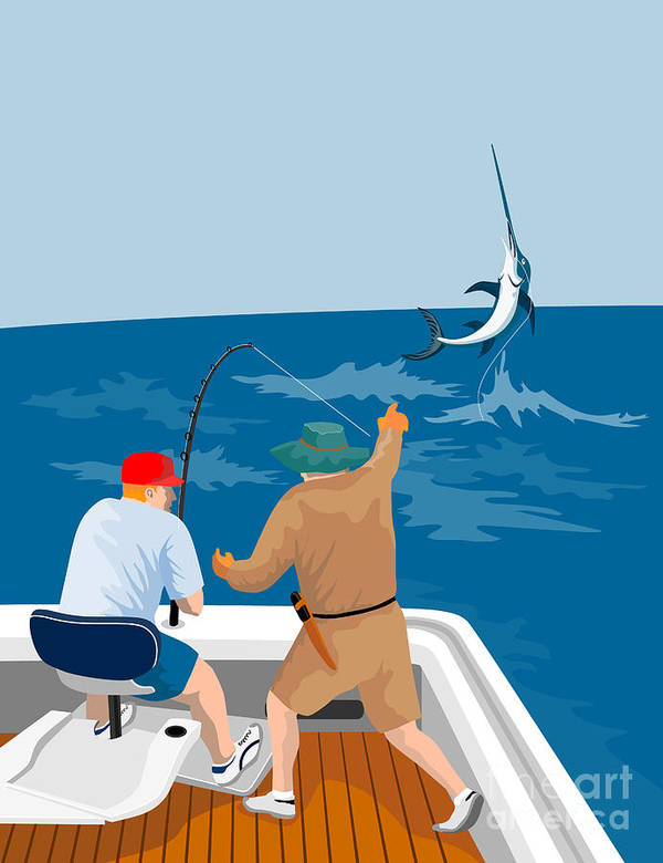 Digital Poster featuring the digital art Big Game Fishing Blue Marlin by Aloysius Patrimonio