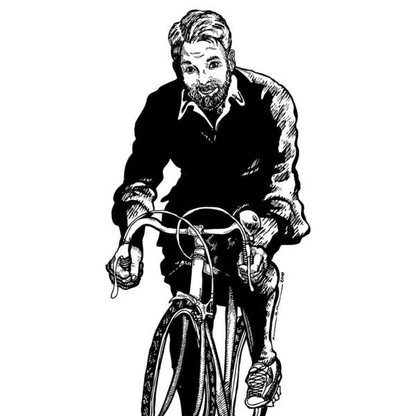 Drawing Poster featuring the drawing Bike Rider by Karl Addison