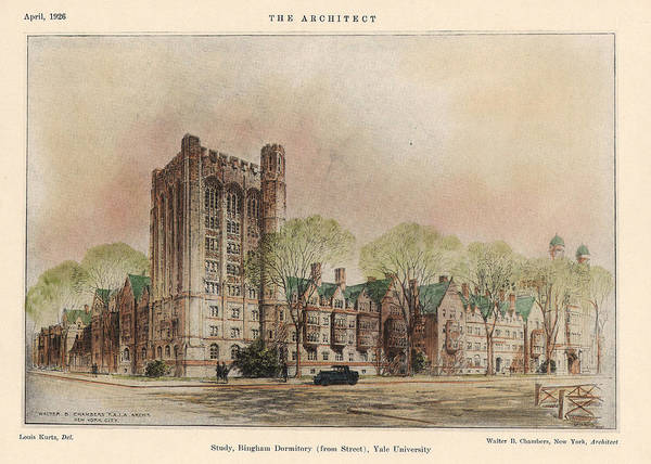 Dormitory Poster featuring the painting Bingham Dormitory. Yale University. New Haven Connecticut 1926 by Walter Chambers
