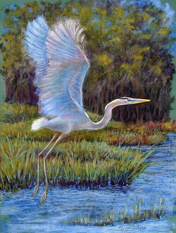 Landscape Poster featuring the pastel Blue Heron In Flight by Susan Jenkins