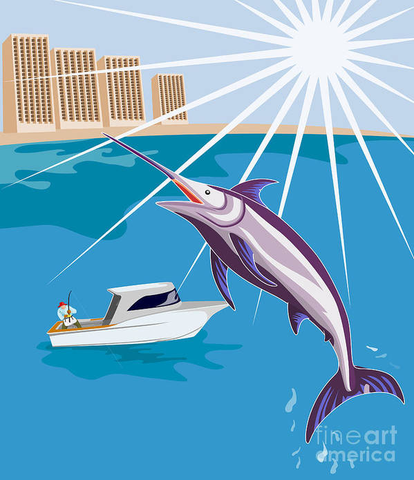 Digital Poster featuring the digital art Blue Marlin Jumping by Aloysius Patrimonio