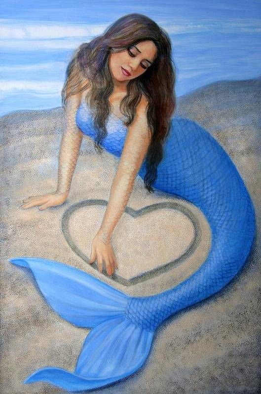 Mermaid Poster featuring the painting Blue Mermaid's Heart by Sue Halstenberg