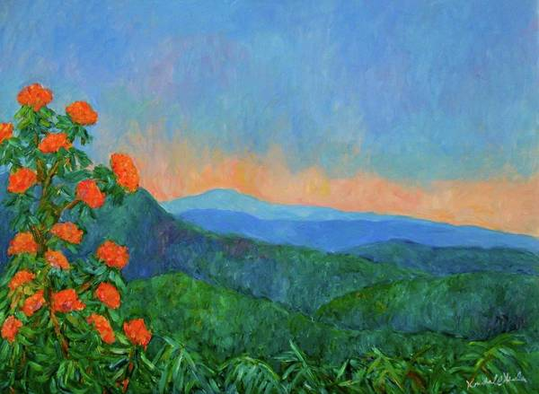 Kendall Kessler Poster featuring the painting Blue Ridge Morning by Kendall Kessler