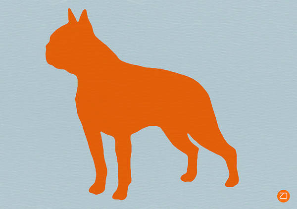 Boston Terrier Poster featuring the digital art Boston Terrier Orange by Naxart Studio