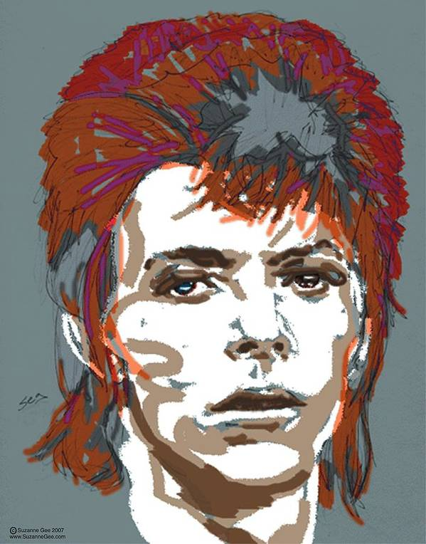 David Bowie Poster featuring the painting Bowie As Ziggy by Suzanne Gee
