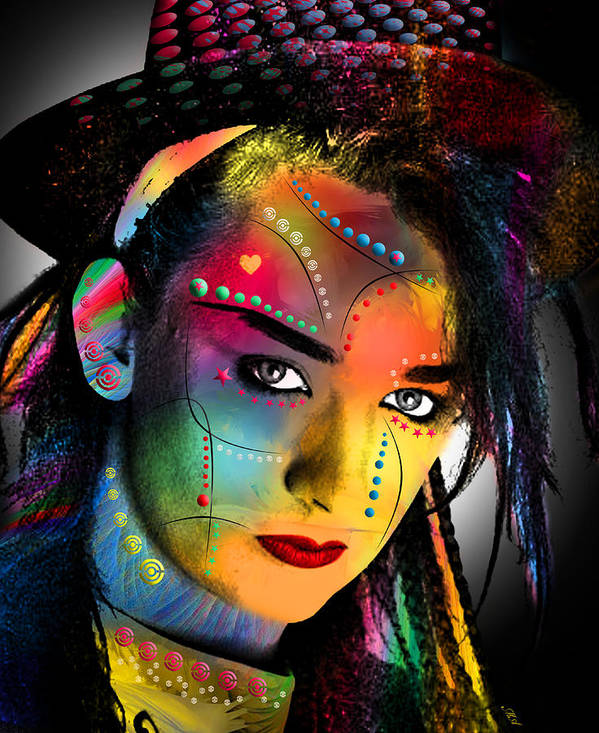 Boy George Poster featuring the digital art Boy George by Mark Ashkenazi