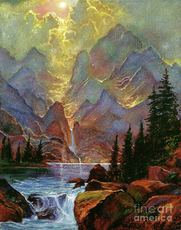 Mountains Poster featuring the painting Breaking Sunlight by David Lloyd Glover