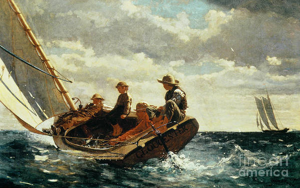 Breezing Up (a Fair Wind) 1873-76 (oil On Canvas) By Winslow Homer (1836-1910)boat Poster featuring the painting Breezing Up by Winslow Homer