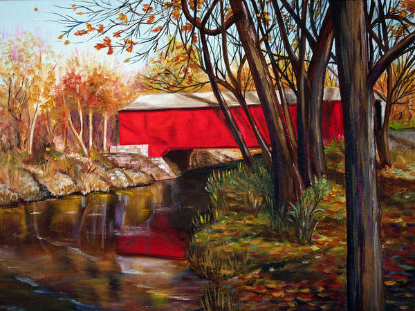 Fall Poster featuring the painting Brown County Bridge by Dorothy Riley