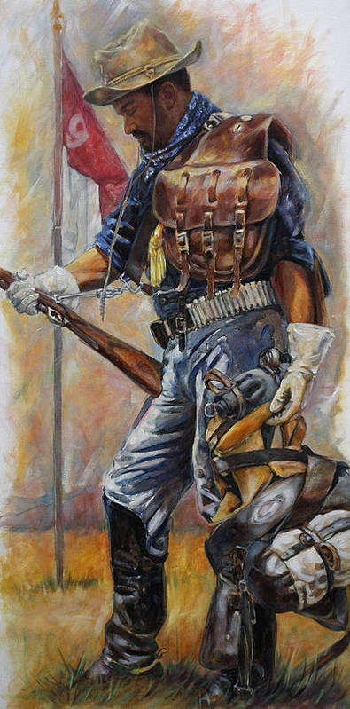 Buffalo Soldier Poster featuring the painting Buffalo Soldier Outfitted by Harvie Brown