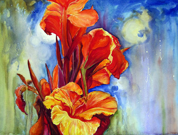 Flowers Poster featuring the painting Canna Lilies by Priti Lathia