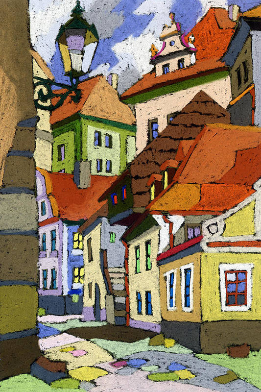 Pastel Poster featuring the painting Chesky Krumlov Masna Street 1 by Yuriy Shevchuk