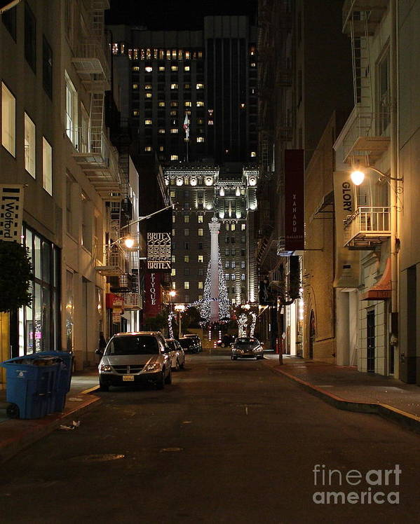 Cityscape Poster featuring the photograph Christmas Eve 2009 On Maiden Lane by Wingsdomain Art and Photography
