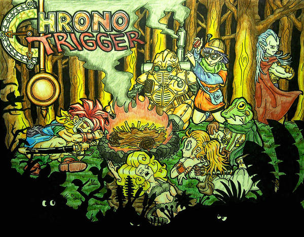 Nintendo Poster featuring the drawing Chrono Trigger Campfire by Paul Tokach