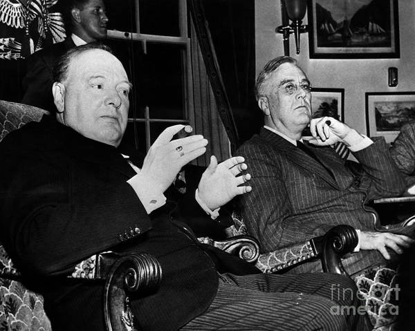 1941 Poster featuring the photograph Churchill & Roosevelt by Granger