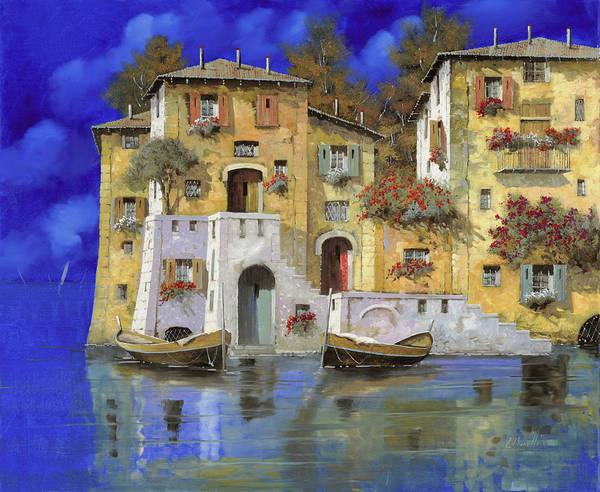 Landscape Poster featuring the painting Cieloblu by Guido Borelli
