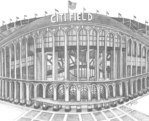 Citi Field Poster featuring the drawing Citi Field by Juliana Dube