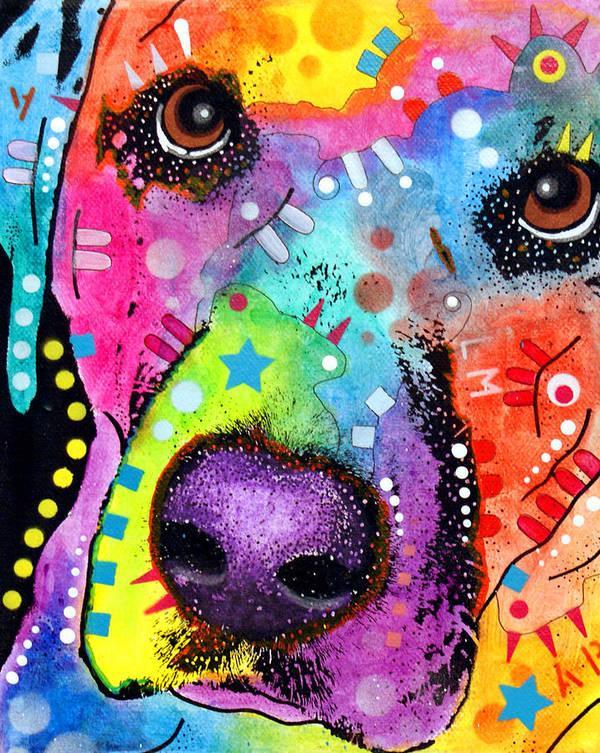 Labrador Retriever Poster featuring the painting Closeup Labrador by Dean Russo
