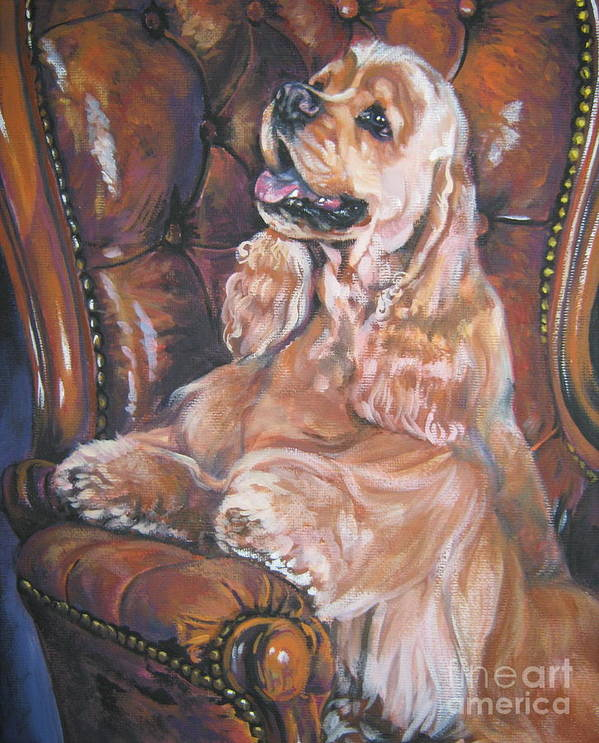 Dog Poster featuring the painting Cocker Spaniel On Chair by Lee Ann Shepard