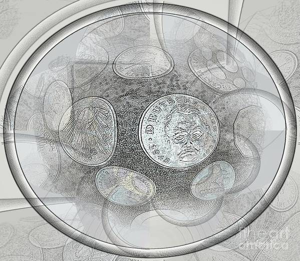 Fania Simon Poster featuring the mixed media Collectable Global Coins by Fania Simon