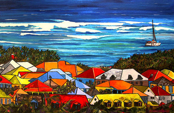 St Martin Poster featuring the painting Colors Of St Martin by Patti Schermerhorn