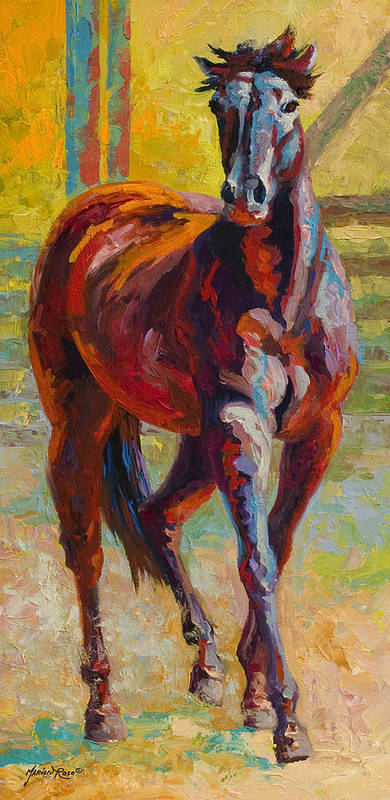 Horses Poster featuring the painting Corral Boss - Mustang by Marion Rose