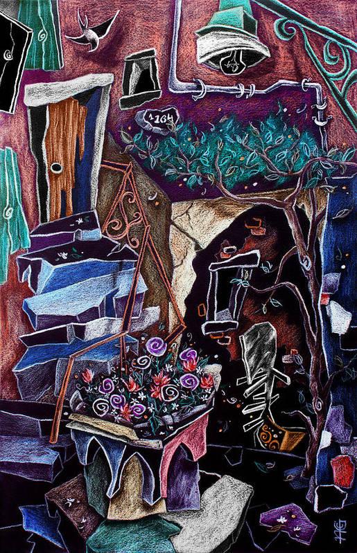 Corte Della Comare Poster featuring the drawing Corte Della Comare - Venice Courtyard - Secret Venise by Arte Venezia