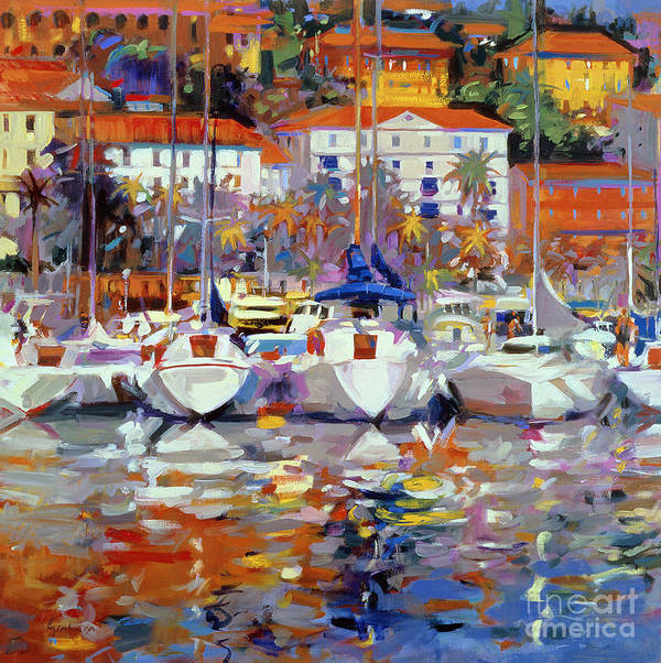 South Of France; Resort; Balmy; Mediterranean; Boat; Yacht; Harbour;french; Le Midi; Pyrenees; Exotic; Neo-impressionist Poster featuring the painting Cote Du Midi by Peter Graham