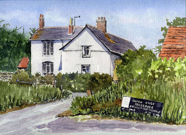 Ancient Poster featuring the painting Cottages At Binsey. Nr Oxford by Mike Lester