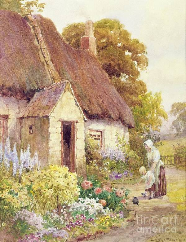 Country Poster featuring the painting Country Cottage by Joshua Fisher