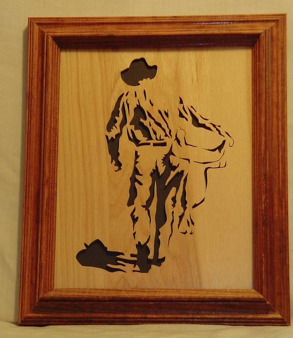 Sculpture Poster featuring the sculpture Cowboy And Saddle by Russell Ellingsworth