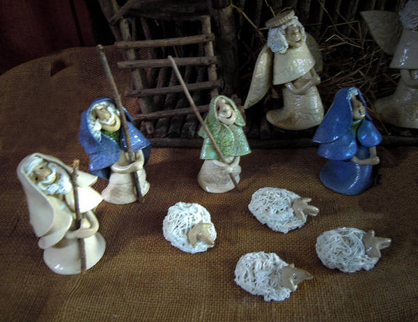 Nativity Poster featuring the ceramic art Creche Shepards And Sheep by Nancy Griswold