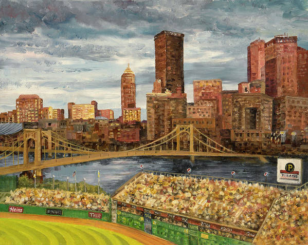 Pnc Park Poster featuring the painting Crowded At Pnc Park by E E Scanlon