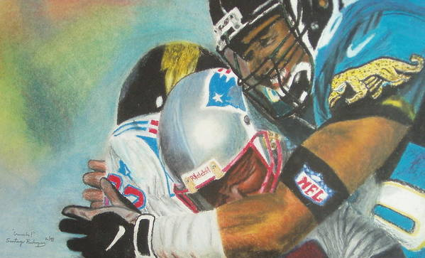 Football Poster featuring the pastel Crunch by Santiago Rodriguez