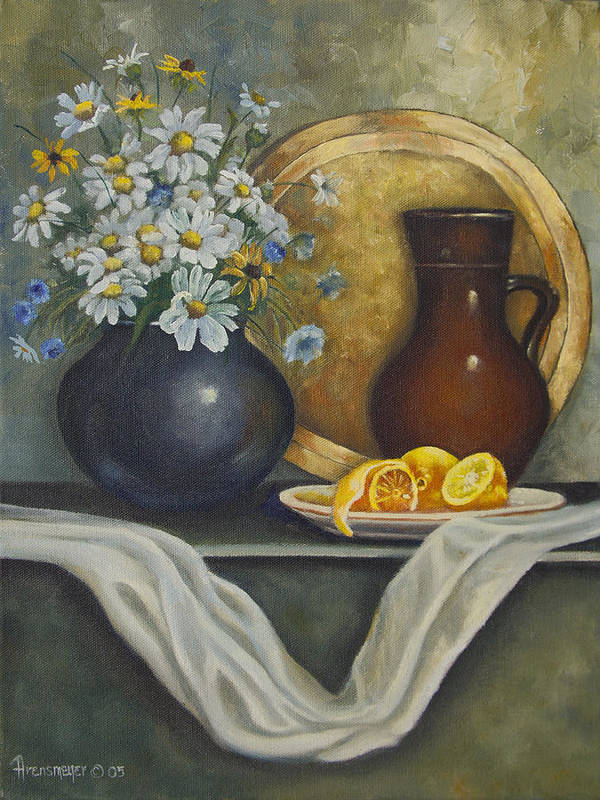 Brass Plate Poster featuring the painting Daisy Stillife With Oranges by Ann Arensmeyer