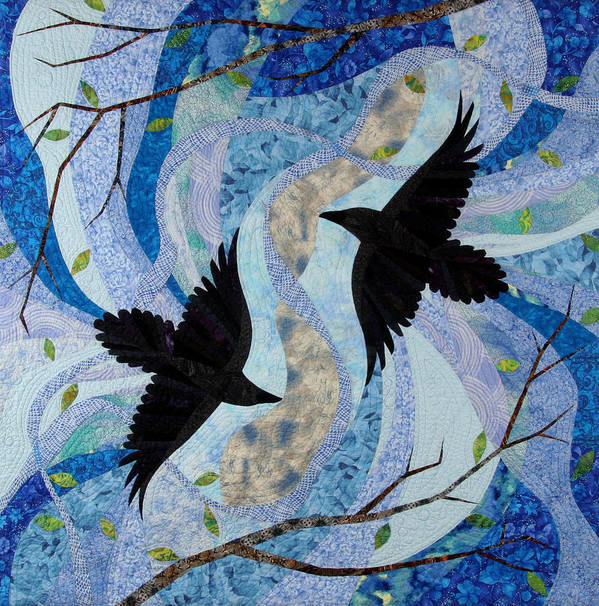 Ravens Poster featuring the tapestry - textile Dancing With The Chinook by Linda Beach