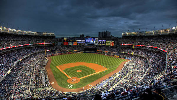 Yankee Stadium Poster featuring the photograph Dark Clouds Over Yankee Stadium by Shawn Everhart