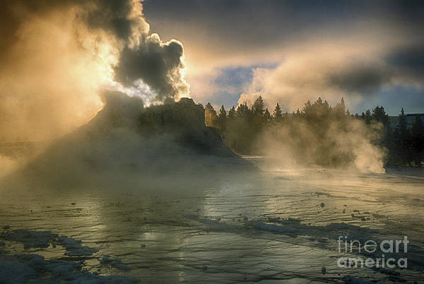 Yellowstone Poster featuring the photograph Dawn On Castle Geyser by Sandra Bronstein