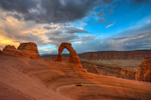 Arches Poster featuring the photograph Delicate Arch Sunset by Jeff Clay