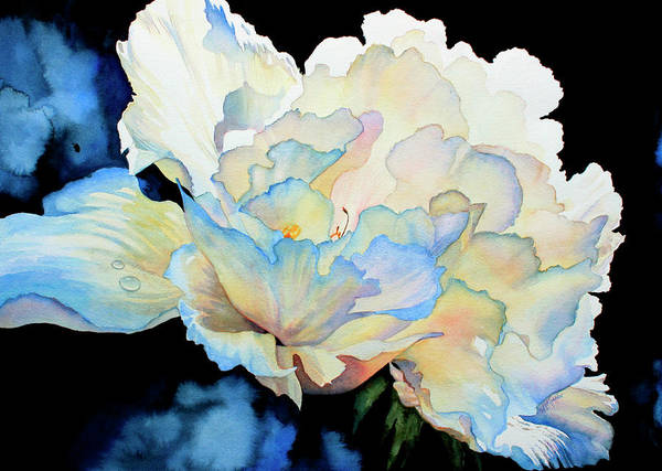 Peony Poster featuring the painting Dew Drops On Peony by Hanne Lore Koehler