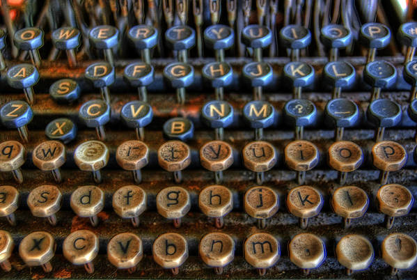 Typewriter Poster featuring the photograph Dfghjk by Joel Witmeyer