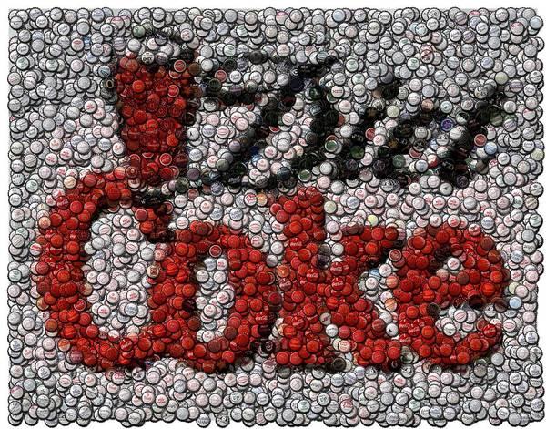 Diet Coke Poster featuring the digital art Diet Coke Bottle Cap Mosaic by Paul Van Scott