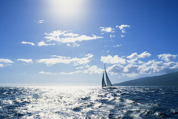 Beautiful Poster featuring the photograph Distant View Of Sailboat by Ron Dahlquist - Printscapes