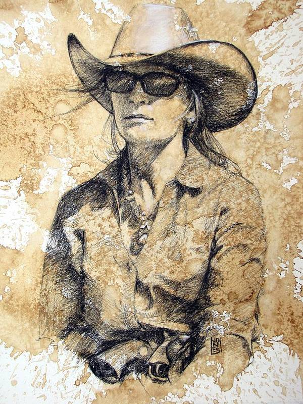 Cowgirl Poster featuring the drawing Doc by Debra Jones