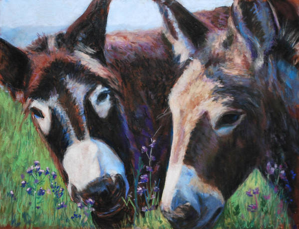 Donkeys Poster featuring the painting Donkey Tonk by Billie Colson